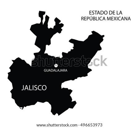 Estado De Jalisco Mexico Vector Map Stock Vector Royalty Free