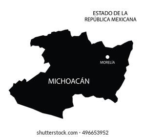 Estado De Michoacan, Mexico, vector map isolated on white background.