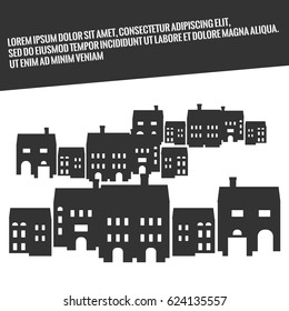 Estate advertisement. Cityscape with silhouettes of houses. Black and white illustration
