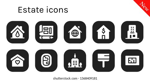estate icon set. 10 filled estate icons.  Simple modern icons about  - House, Blueprint, Home, Skyscraper, Window, Skyscrapper, Scraper