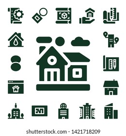 estate icon set. 17 filled estate icons.  Collection Of - Planning, House, Foundation, Home, Homepage, Building, Architecture, Skyscrapper, Key chain, Blueprint, Plan