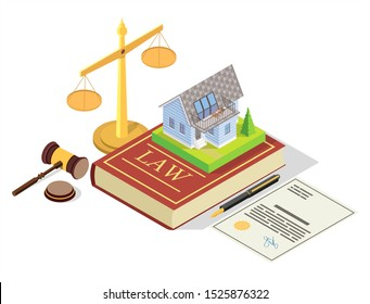 Estate law vector concept illustration. Isometric juridical symbols Law book with house real estate, scales of justice, judge gavel. Property law composition for web banner, website page etc.