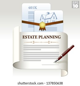 Estate planning legal documents with home title and 401k retirement plan