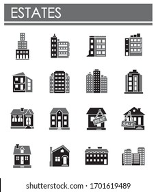 Estate related icons set on background for graphic and web design. Creative illustration concept symbol for web or mobile app.
