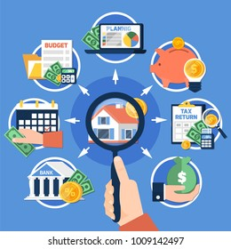 Estate tax composition on blue background with magnifier in hand, house, savings, budget planning, report vector illustration