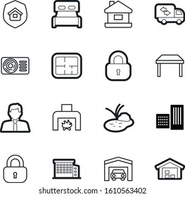 estate vector icon set such as: auto, chair, isometric, fireplace, stones, fan, warehouse, trailer, sleep, car, moving, insurance, air, set, man, fire, landscape, equipment, swamp, fast, table, plant