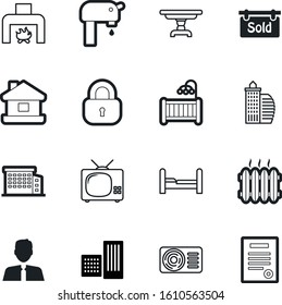 estate vector icon set such as: vent, wall, avatar, conditioner, tourist, flow, newborn, plumbing, legal, appliance, device, structure, cot, drink, park, password, faucet, light, decor, picnic