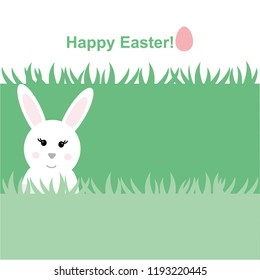 Ester Bunny in the grass. Cute bunny. Illustration of rabit. Happy Easter.