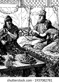 Esther Hosts a Banquet for King Xerxes and Haman, the king and a girl sitting on couch together and a seated man next to them for dinner, food kept on table and the king holding royal scepter, vintage