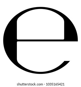 Estimated sign vector illustration. Isolated black e-mark or e symbol on white background