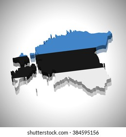 Estonia - 3D map and flag