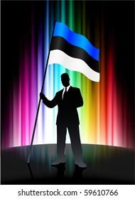 Estonia Flag with Businessman on Abstract Spectrum Background Original Illustration