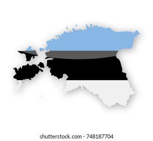 Estonia Flag Country Contour Vector Icon - Illustration