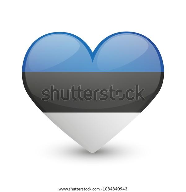 Estonia Flag Heart Love Emoji Icon Object Symbol Gradient Vector Art Design Cartoon Isolated