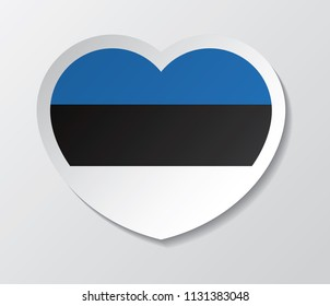 estonia flag vector love heart shape