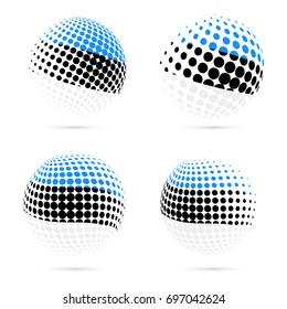 Estonia halftone flag set patriotic vector design. 3D halftone sphere in national flag colors isolated on white background.