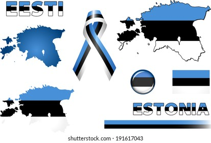 Estonia Icons. Set of vector graphic icons and symbols representing Estonia. The text says 'Estonia' in Estonian.