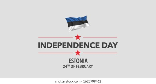 Estonia independence day greeting card, banner, vector illustration. Estonian holiday 24th of February design element with waving flag as a symbol of independence