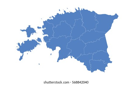 Estonia map blue color