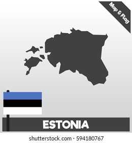 estonia map and flag with flat style and dark color eps.10
