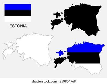 Estonia map and flag vector, Estonia map, Estonia flag