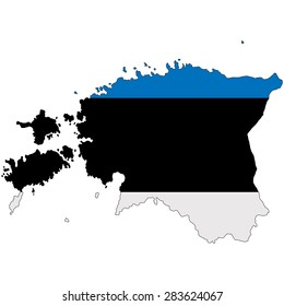 Estonia map image painted in the national flag