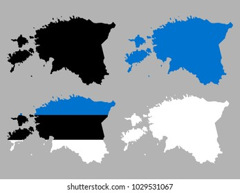Estonia map silhouette with national flag decoration