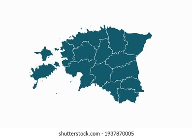 Estonia map vector. blue color on white background.