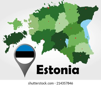 Estonia political map with green shades and map pointer.