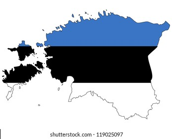 Estonia vector map with the flag inside.
