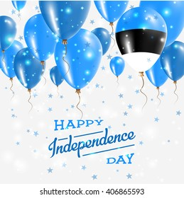 Estonia Vector Patriotic Poster. Independence Day Placard with Bright Colorful Balloons of Country National Colors. Estonia Independence Day Celebration.