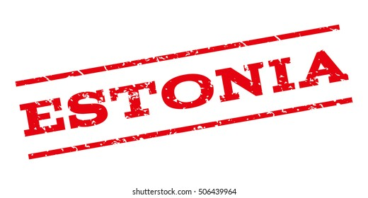 Estonia watermark stamp. Text caption between parallel lines with grunge design style. Rubber seal stamp with unclean texture. Vector red color ink imprint on a white background.
