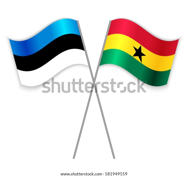 Estonian and Ghanaian crossed flags. Estonia combined with Ghana isolated on white. Language learning, international business or travel concept.
