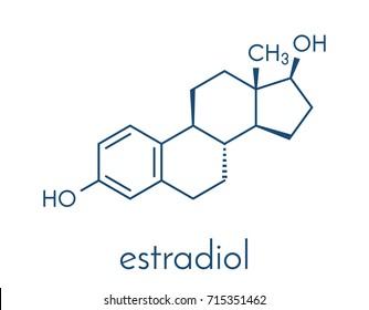 Estradiol (estrogen) female sex hormone molecule. Skeletal formula.