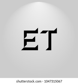 ET Abstract Black Letters with white and gray background in highlight