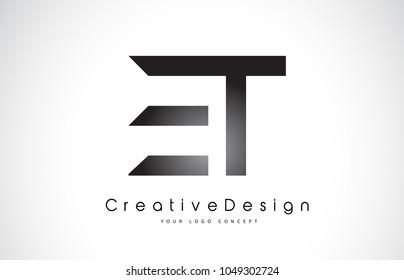 ET E T Letter Logo Design in Black Colors. Creative Modern Letters Vector Icon Logo Illustration.