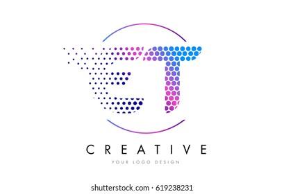 ET E T Pink Magenta Dotted Bubble Letter Logo Design. Dots Lettering Vector Illustration