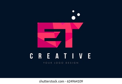 ET E T Purple Letter Logo Design with Low Poly Pink Triangles Concept