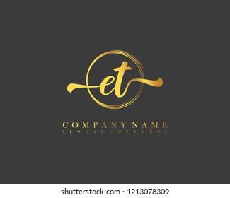 ET initial handwriting logo circle template vector