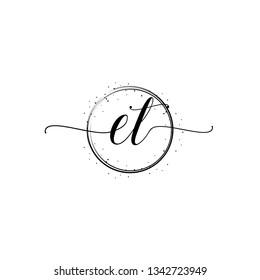 ET  Initial Handwriting logo template vector