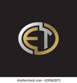 ET initial letters looping linked ellipse elegant logo golden silver black background