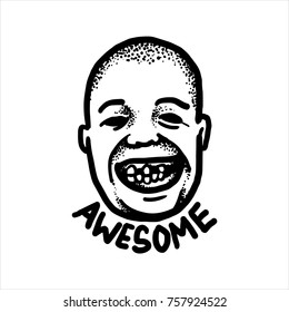 Etched vector illustration. Engraved sticker. Dark humor jokes. Contemporary street art work. Hand drawn sketch of the face of a bald head man with a terrible toothless smile.