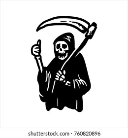 Etched vector illustration. Engraved sticker. Dark humor jokes. Contemporary street art work. Hand drawn sketch of a ghost of death in a robe and with a scythe, showing the gesture thumb up.