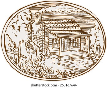 Etching engraving handmade style illustration of a log cabin farm house with smoke coming out from chimney set inside oval shape with trees and plants in the background.