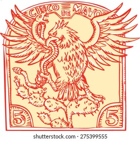 "Etching engraving handmade style illustration of a Mexican eagle devouring a rattle snake perching on prickly pear cactus set inside inverted crest with words ""Cinco de Mayo"""