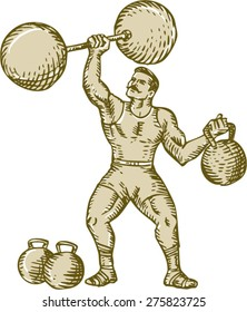Etching engraving handmade style illustration of a strongman circus performer lifting barbell on one hand and kettlebell on the other hand set on isolated white background.
