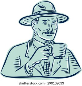 Etching engraving handmade style illustration of a man wearing vintage fedora hat holding coffee mug drinking coffee set on isolated white background.