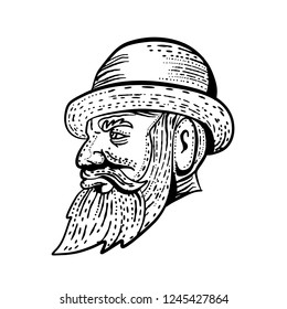 Etching style illustration of a hipster gentleman with bushy beard and mustache wearing a bowler hat viwedr from side done on scraperboard scratchboard style in black and white.