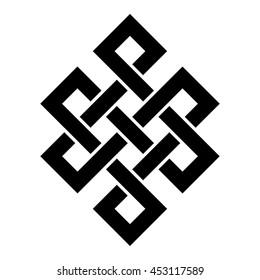 Eternity knot, buddhist symbol, vector illustration