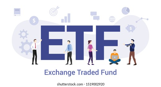 etf ecchange traded fund concept with big word or text and team people with modern flat style - vector